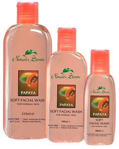 Rich in Real Papaya (Carica papaya L.) Fruit Extract which is known to be good to fade freckles or dark patches that are formed by exposure to the Sun, Nature's Secrets Papaya Soft Facial Wash is suitable for normal skin. 100% soap free, with a skin-friendly pH of 5.5 - 6.0, daily use of Papaya Soft Facial Wash rich in Vitamins & other natural goodness gives a natural face-lift and softens skin.  Buy it here: http://www.luxurylife.lk/index.php?route=product/product=20_26_63_id=50