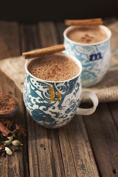 One of my favorite cold weather drinks. Chai Hot Chocolate (no dairy) and perfect for those chilly mornings, or afternoons, or evenings.