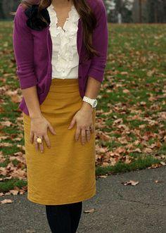 mustard yellow skirt, black leggings, white ruffle shirt, eggplant purple cardigan, work outfit--love the color combo Mustard Yellow Skirts, Mustard Skirt, Modest Outfits, Cute Outfits, Work Outfits, Office Outfits, Skirt Outfits, Classy Outfits, Dress Skirt