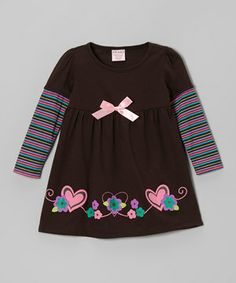 Another great find on #zulily! Brown Stripe Long-Sleeve Dress - Toddler & Girls by S.W.A.K. #zulilyfinds