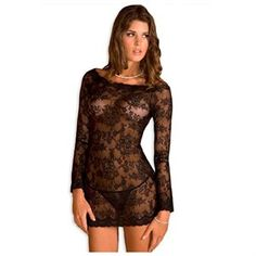 Sexy Black Lace Long Sleeved Mini Dress with Matching Thong 1 of 2