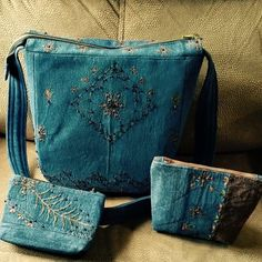 Retail Handmade Blue Jean jacket bag set Handmade Blue Jean jacket material. Zipper top, 13.5-in wide. 11-in deep. Strap drop 20-in. INCLUDED: 2 Clutch bags - 7-in wide X 5.5-in deep & 4.4-in deep X 6.5-in deep Evelyn's Quilting Bags Shoulder Bags