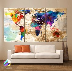 LARGE 30x 60 3 Panels Art Canvas Print Original by BoxColors
