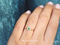 Round Silly Shiny Small Halo Diamond Ring by SillyShinyDiamonds