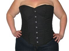 "Heavy cotton (jean strength material) Black and White pin stripe overbust corset,  With Steel busk  100% cotton lining with inner grip tape  8 steel bones, side bones are flexy spiral sprung steel perfect for shaping your waist line.  5"" Modesty back panel and back lacing with strong cotton laces.  4 removable and adjustable suspenders.  These do take around 15  working days to make.  Sizes 2XS - 12XL Waist sizes from 24"" - 56""  UK Dress sizes 8 - 40"