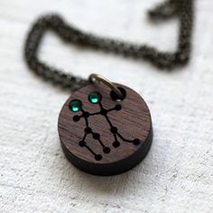 Gemini Constellation Necklace with Birthstones by TinyWhaleStudio on etsy