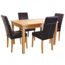 The LPD Oakridge Oak Dining Set with 4 Faux Leather Chairs - £223.65 - The Oakridge Oak Dining Set with 4 Faux leather chairs nbsp part of a High quality Oak veneered furniture range that looks far more expensive than it is.