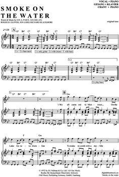 Smoke on the water (Klavier + Gesang) Deep Purple [PDF Noten] >>> KLICK auf die Noten um Reinzuhören <<< Noten und Playback zum Download für verschiedene Instrumente bei notendownload Blockflöte, Querflöte, Gesang, Keyboard, Klavier, Klarinette, Saxophon, Trompete, Posaune, Violine, Violoncello, E-Bass, und andere ...