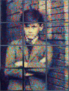 Pixelated Portraits Made of Crayons by Christian Faur