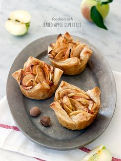 Baked Apple Cups are my favorite alternative to a whole pie, and easy to pull together thanks to puff pastry sheets | foodiecrush.com