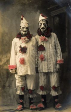Vintage photo of two clowns in New York City.  This is why some people are afraid of clowns.  Two pierrots in a studio  by lovedaylemon