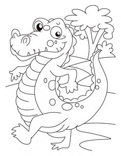 Alligator On Evening Walk Coloring Page