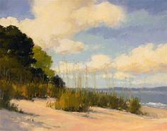 """Dune Grass Beach - enlarged"" - Original Fine Art for Sale - © Laurel Daniel"