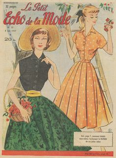 One of a set of 4 original French fashion magazine covers from the 1950s. This group of fashion prints shows some delightful summer dresses from the era. It features dresses at the race track, cherry picking, and evening gowns. Girls Picking Cherries in Summer Dresses.