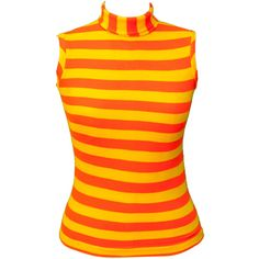 1960s Blouse Top Orange Striped Turtleneck Kawaii Plus Size Mod Yellow... (£36) ❤ liked on Polyvore featuring tops, blouses, striped turtleneck, plus size turtleneck, plus size sleeveless blouse, striped blouse and neon yellow blouse