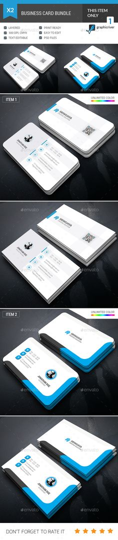Business Card Templates PSD Bundle. Download here: https://graphicriver.net/item/business-card-bundle/17398963?ref=ksioks