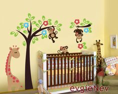 nursery vinyl wall decal - monkeys on the tree beautiful children wall decals more ideas children wall decals - dog under the tree - children nursery baby boy g Animal Wall Decals, Kids Wall Decals, Nursery Wall Decals, Nursery Room, Girl Nursery, Nursery Decor, Jungle Nursery, Wall Stickers, Wall Vinyl