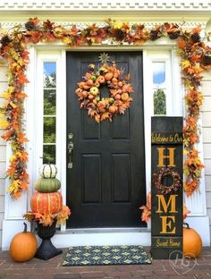 Fall HOME Porch Welcome Sign 4' Reversible Option Pip Berries Personalized Hand Painted Family Reclaimed Hard Woods