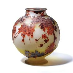 Emile Gallé, a large apple blossom vase, internally decorated cameo glass, 1900