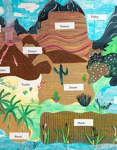 Create a unique, stunning display of the Earth's landforms. Showcase learning with textured materials such as sandpaper, aluminum foil, and corrugated paper.   geology and geography Grades 2,3,4,5: Across the Landscape
