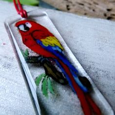 Macaw parrot necklace   fused glass pendant by ArtoftheMoment, $55.00