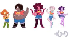 Mostly fan ideas of the Fusions with Steven in them. (right to left) Steven with: Peridot, Amethyst (Smoky Quartz), garnet, pearl (rainbow Quartz?), Lapis Lazuli.