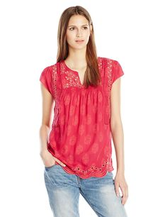 Lucky Brand Women's Cutout Embroidered Top in Fuschia Multi -- Additional details at the pin image, click it  : Women clothing