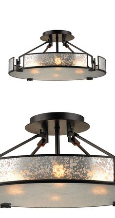 Add a burst of modernity to your bathroom or entryway with the stunning Abrams Chandelier. Handsomely crafted, this piece features an oiled-bronze finish, metal framing and a stunningly weathered shade...  Find the Abrams Chandelier, as seen in the Vintage Industrial Bath Collection at http://dotandbo.com/collections/vintage-industrial-bath?utm_source=pinterest&utm_medium=organic&db_sku=115033