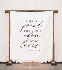 Wedding Backdrop for Ceremony, Rustic Wedding Decorations, I Have Found The One Whom My Soul Loves Backdrop, Song of Solomon 3:4 #bestdayever #churchwedding #smallchurchwedding #christianwedding #churchweddingdecor #weddinginspiration Fabric Backdrop, Banner Backdrop, Backdrop Ideas, Wedding Signage, Rustic Wedding, Backdrop Wedding, Wedding Banners, Cricut Wedding, Ceremony Backdrop