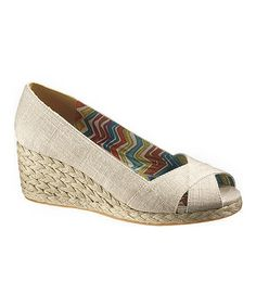 Take a look at this Natural Linen Chesapeake Bay Peep-Toe Espadrille by Soft Style by Hush Puppies on #zulily today!