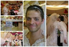For anyone who didn't believe that Misha Collins dressed in drag and renewed his vows at a supermarket, have this. // created at PicMonkey.com