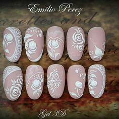 Super wedding nails flower brides Ideas - Nägel - Best Nail World Bride Nails, Wedding Nails For Bride, Wedding Nails Design, Lace Nails, Flower Nails, 3d Nail Art, Nail Arts, Nail Art Modele, Bridal Nail Art