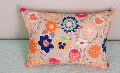 Art Gallery Curiosities Splendiferous Warm 12x18 Pillow Cover and Insert Beige, Navy, Mint, Orange, Pink, Travel, Bed, Throw pillow by BeegoHandmade on Etsy