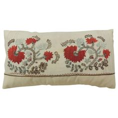 19th c. Floral Embroidery Turkish Lumbar Pillow | From a unique collection of antique and modern pillows and throws at https://www.1stdibs.com/furniture/more-furniture-collectibles/pillows-throws/