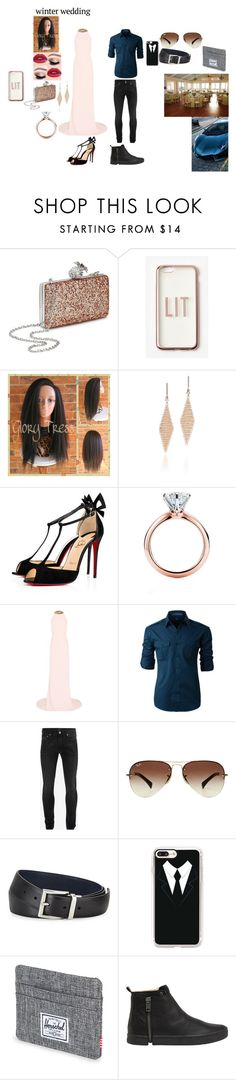 """""""Nat and TK: Winter Wedding"""" by faithful-promise ❤ liked on Polyvore featuring Miss Selfridge, Missguided, Tiffany & Co., Christian Louboutin, Ferrari, STELLA McCARTNEY, LE3NO, Alexander McQueen, Ray-Ban and Prada"""