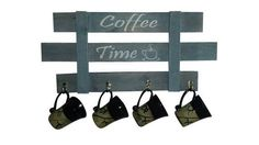 Looking for a cute way to display your coffee mugs? Coffee mug rack made from reclaimed wood by MadeWithThese2Hands