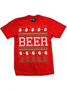 """Men's """"Beer"""" Christmas Tee by Cartel Ink (Red) #inkedshop #beer #christmas #holiday #tshirt"""