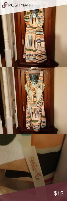 My Stary tie in back dress This is a beautiful sun dress have multiple colors orange,blue,gold,teal,brown and olive green on white background dry clean only My Stary Dresses Midi