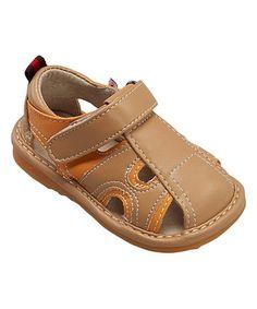 Orange & Tan Squeaker Sandal #zulily #zulilyfinds
