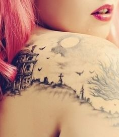 amazing graveyard tattoo