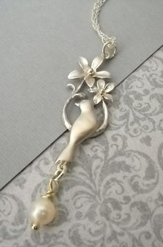 Blossom Bird Charm Necklace with Pearl on by lucindascharms, $23.00