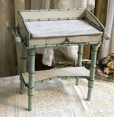 French Faux Bamboo maplewood doll toilette vanity