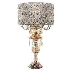 River of Goods 24 in. Gold Indoor Table Lamp with Champagne Jeweled Blossom Shade