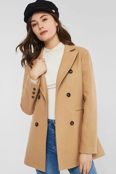 be796d89e635c4 Slim Double-Breasted Button Mid-Length Winter Overcoat