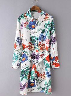 Women's Fashion Long Sleeve Floral Print Spring Dress With Belt.Check more from www.oasap.com .