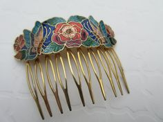 Vintage Blue Cloisonné Butterfly hair comb floral insect Bespoke Accessory Colorful enamel flower Hair Jewels boho chic classic decorative