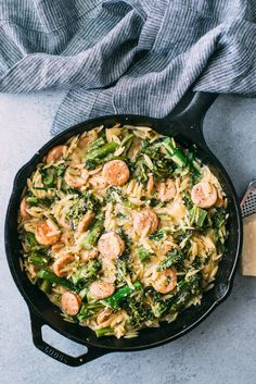 Broccolini, Chicken Sausage, and Orzo Skillet