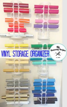 "If you need Vinyl Storage ideas this is the one. It's super simple, inexpensive and can be hung on the back or inside of a door! Photo Credit ES Craft Corner Ok so this whole ""Cricut Thing"" has had me a little flustered. I'm over here on Pinterest looking for Cricut Projects to create and...Read More »"