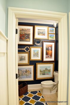 Evolution of Style: Moody Blue Powder Room Reveal palladian blue benjamin moore on outside contrast wall