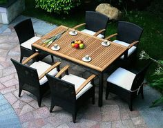 China Sanibel Wicker Outdoor Dining Set, ECVV provides Sanibel Wicker Outdoor Dining Set China Sourcing Agent service to protect the product quality and payment security. Garden Dining Set, Outdoor Dining Set, Patio Dining, Patio Chairs, Dining Table, Outdoor Living, Rattan Chairs, Dining Room, Dining Sets